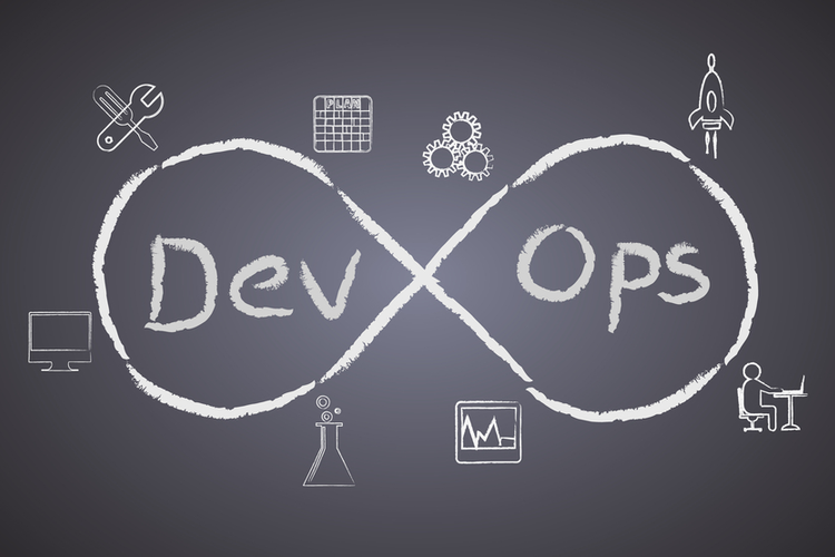 DevOps infinity sign symbol with industrial symbols drawn a blackboard
