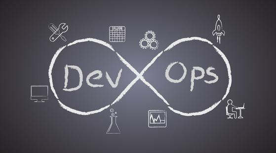DevOps infinity sign symbol with industrial symbols drawn a blackboard