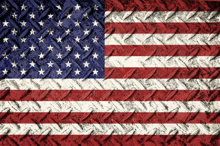 US Flag over steel plate.