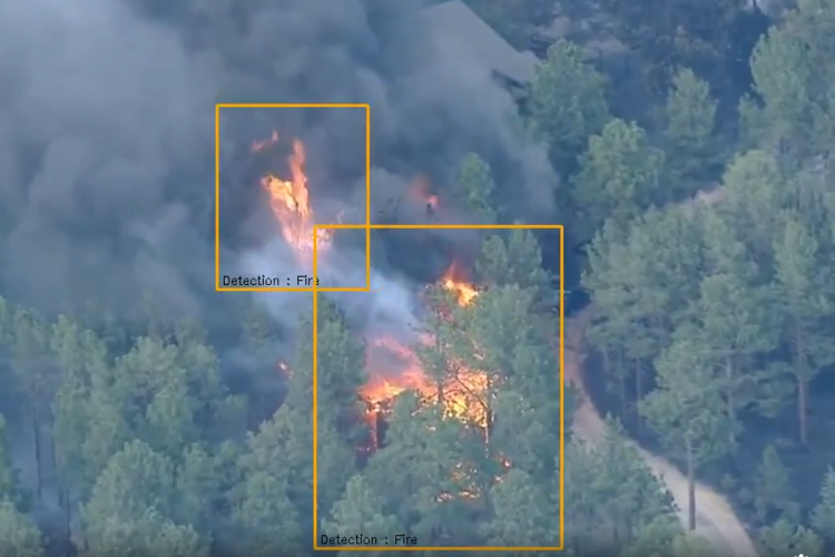 Image of fire detection from a drone