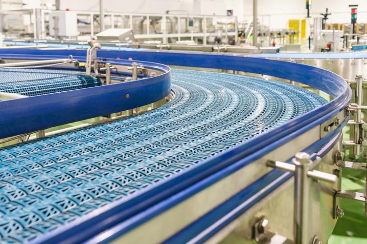 Conveyor belt at industrial facility