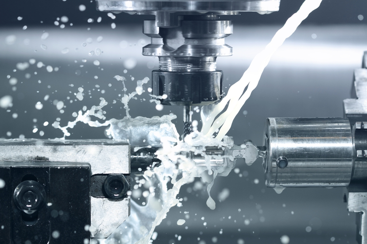 Close-up image of a CNC machine at work.
