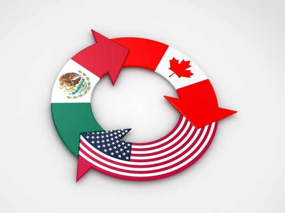 U.S., Mexico, and Canada flags in the shape of arrows going in a circle