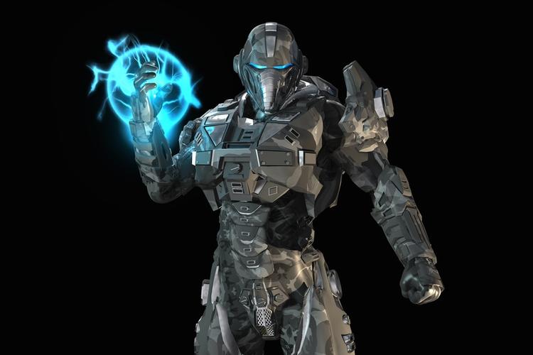 Futuristic robot soldier.