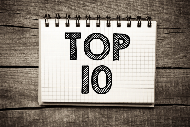 Top 10 written on paper sheet on wooden background.