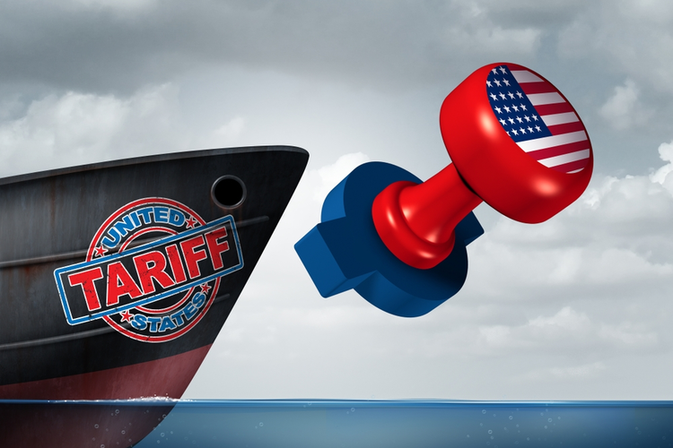 American trade tariff as a stamp on a cargo ship representing steel and aluminum tariffs on imports and exports.