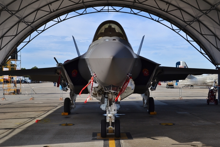 F-35 in hangar.