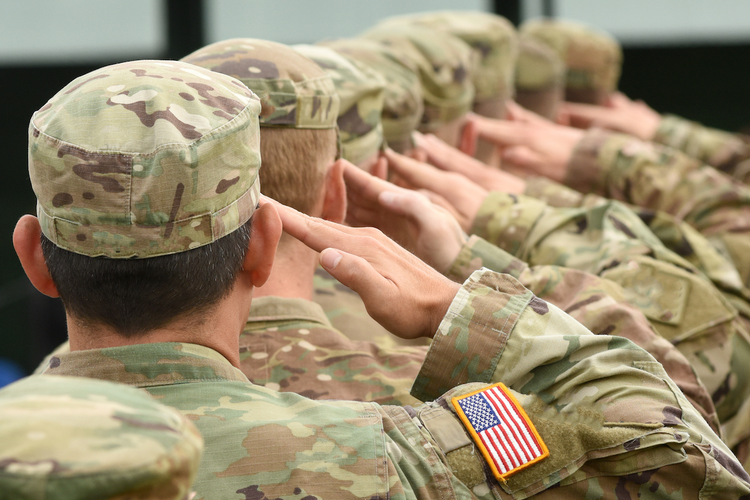 U.S. soldiers giving salute