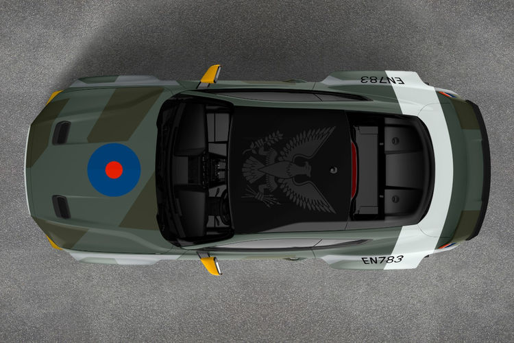 Overhead view of Ford's Special Edition Eagle Squadron Mustang donated to the Experimental Aircraft Association for a fundraiser.