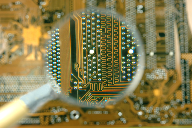 Close up image of a circuit board