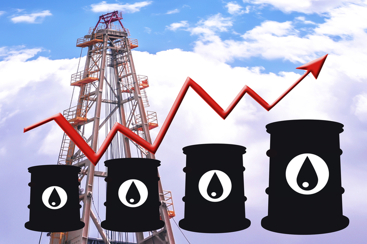 Bar graph, barrels, and oil rig representing gas price fluctuation