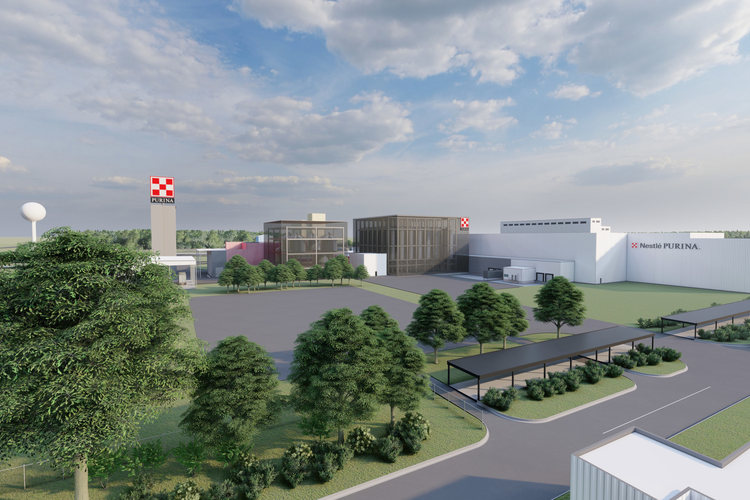 An artist rendering of Purina's new factory site