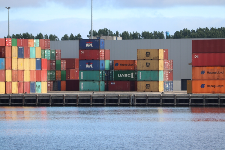 Intermodal containers at a terminal.