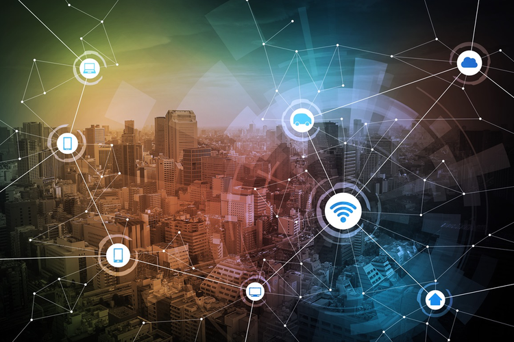 Concept image of interconnected digital, communications, and supply chain activities