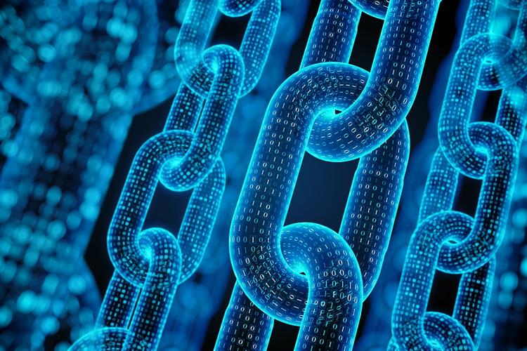 Blockchain concept in 3D rendering
