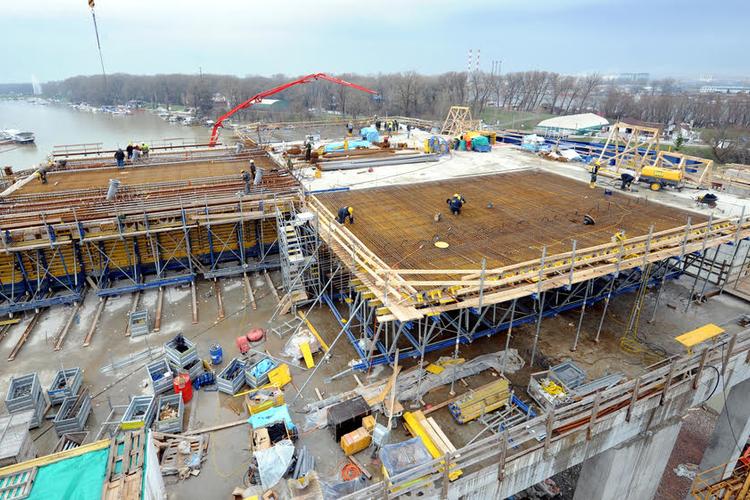 Construction underway on building