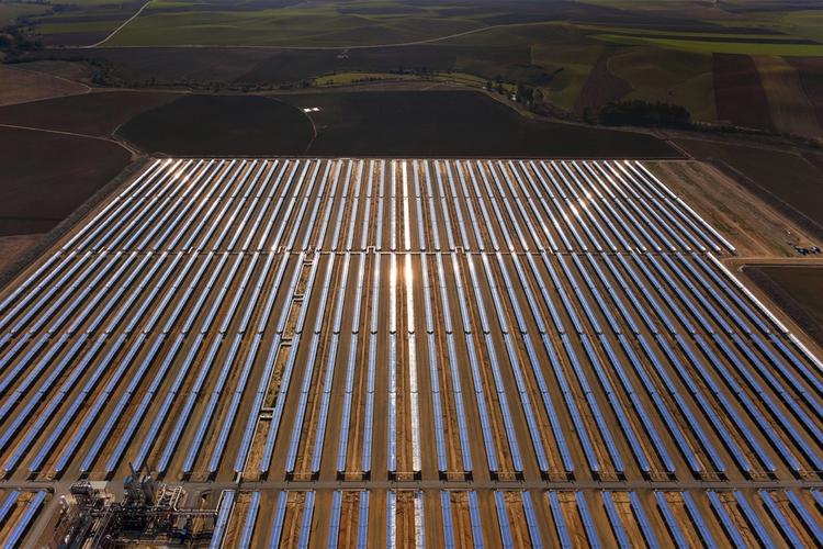 Aerial view of solar parabolic power plant.