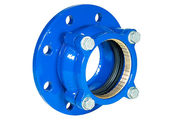 cast iron pipe wall thickness, Blue cast iron flange mounting pipeline adapter with rubber sealing and extra grip ring.