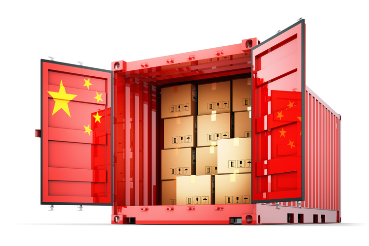 Shipping container emblazoned with Chinese flag