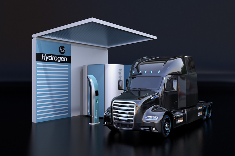 Hydrogen-fueled truck at charging station