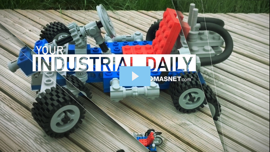 A go-kart made out of giant, 3D-printed LEGO blocks.