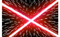 Red laser beams on space background