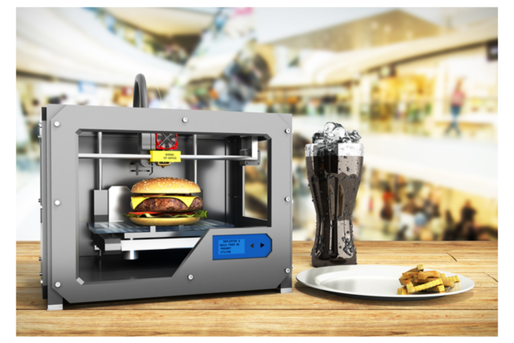 3D printer making a cheeseburger