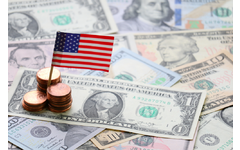 American flag planted in money to indicate economic growth