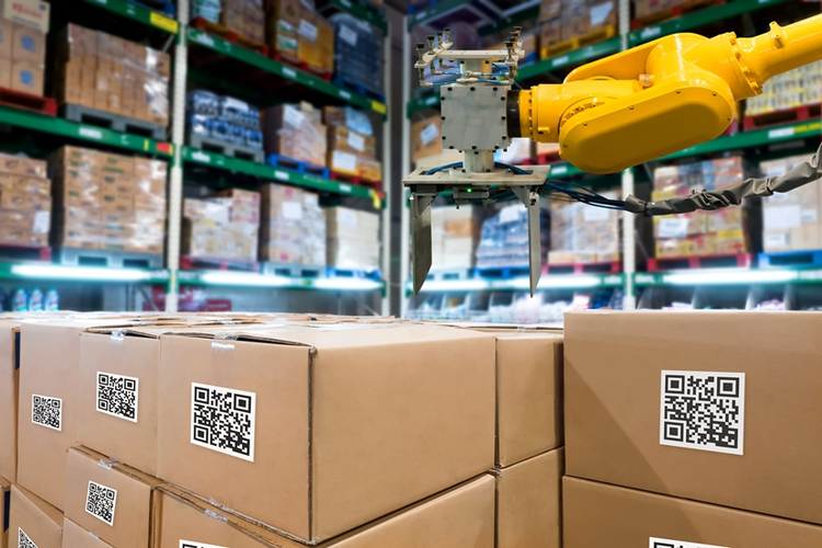 Packages with QR codes in a warehouse