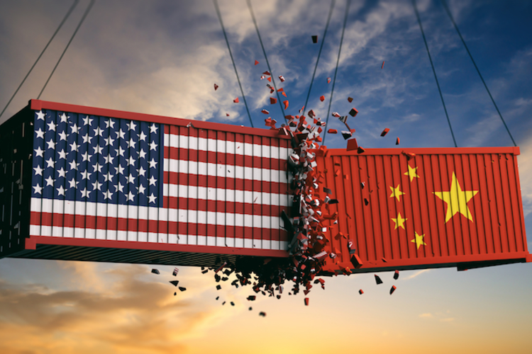 Shipping containers, one with U.S. flag and one with Chinese flag, colliding midair to represent trade war