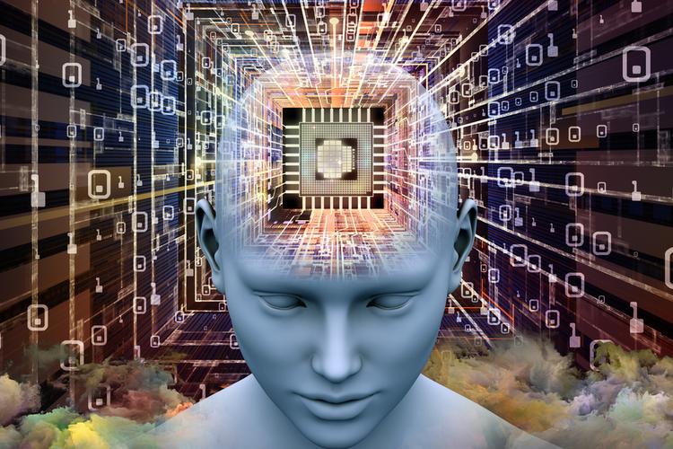 Human head with microchip for brain