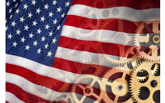Image of the American flag with gears