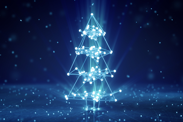 3D glowing wireframe Christmas tree