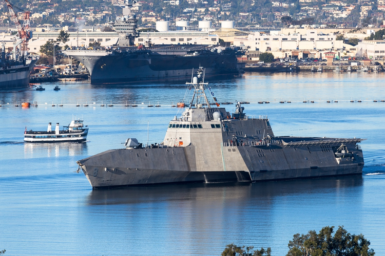 Littoral combat ship in the water