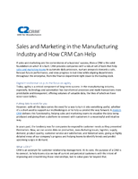 Sales and Marketing in the Manufacturing Industry and How CRM Can Help