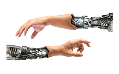 Synthetic skin on robot hands and arms