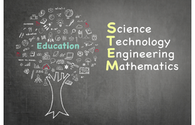STEM education represented by a blackboard drawing of a tree with science and technology symbols instead of leaves