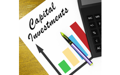 Capital Investments Flyer With Graph, Pen, and Calculator.