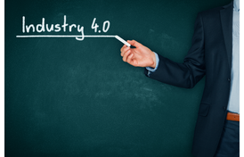 Industry 4.0 Written on a Chalkboard.