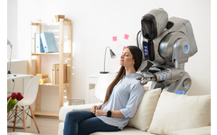 Robot giving woman a massage.