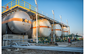Gas tanks in a natural gas factory.