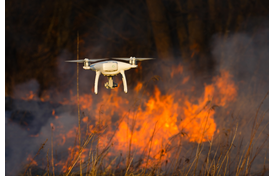 Drone capturing image of fire.