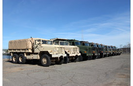 Row of army vehicles