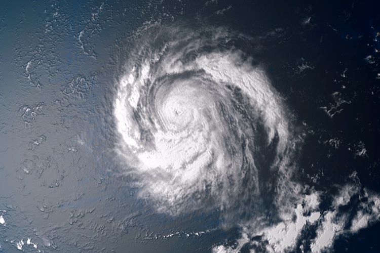 Aerial view of hurricane over the ocean.