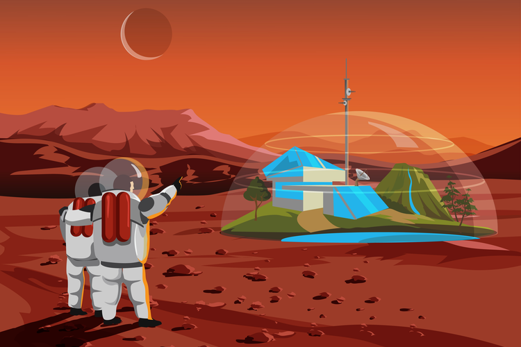 Cartoon image of astronauts looking at a space home/shelter on Mars.