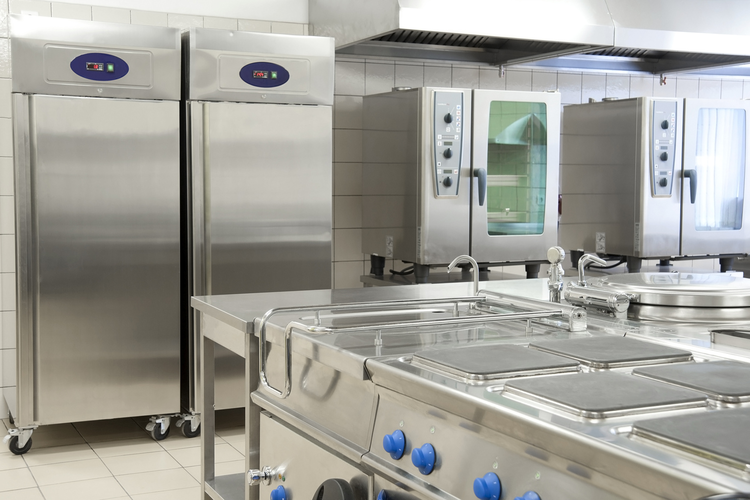 State-of-the-art stainless steel commercial kitchen