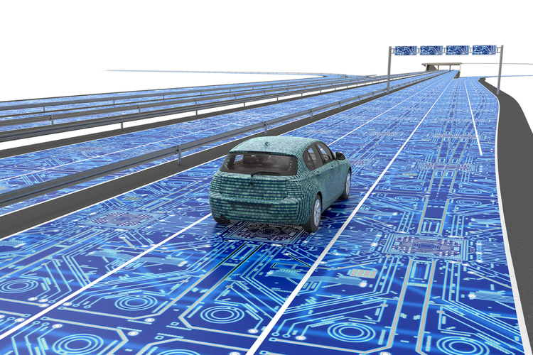 Concept of an autonomous car driving on a smart road with no traffic