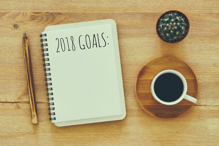 Notepad showing a page entitled 2018 Goals