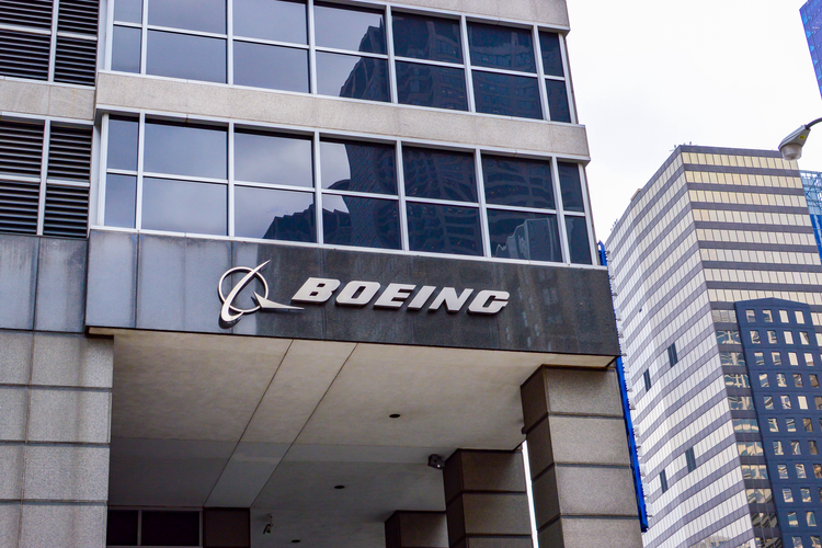 Boeing letters and logo on a building