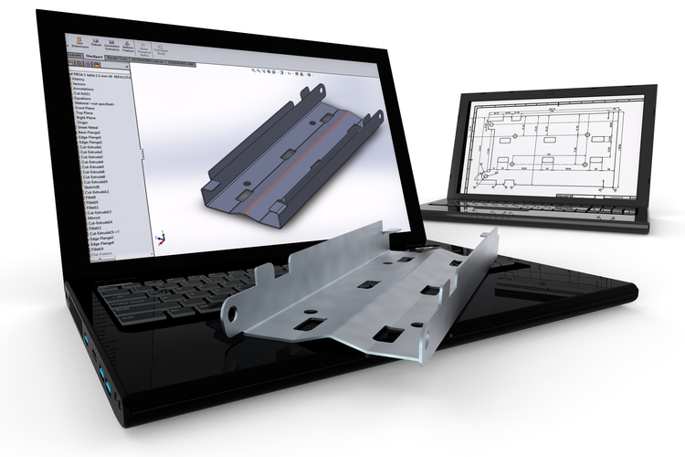 3D rendered image representing 3D modeling on laptop with 3D printed part on top of keyboard.